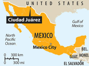 Juarez, Mexico is just across the border from El Paso, Texas, USA